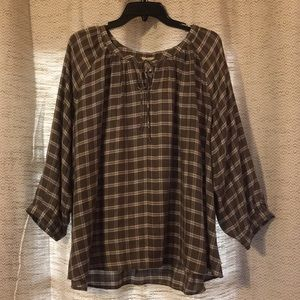 Loft Green Plaid Blouse